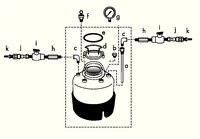 部件 a - e 随罐提供。 f - k 作为附件需另行订购。